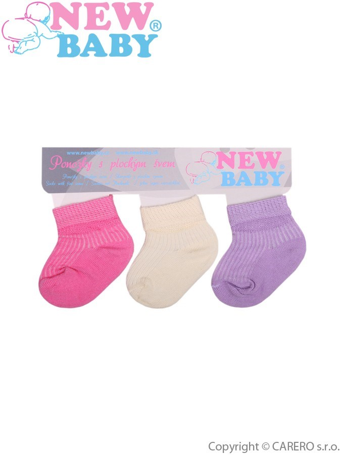 Dojčenské pruhované ponožky New Baby farebné - 3ks