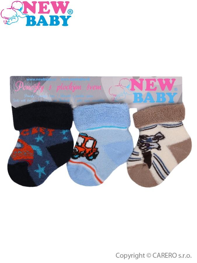 Dojčenské froté ponožky New Baby farebné - 3ks
