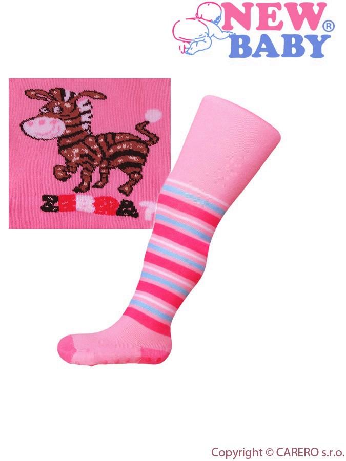 Bavlnené pančucháčky New Baby s ABS ružové zebra