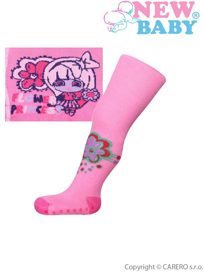 Bavlnené pančucháčky New Baby s ABS ružové flower princess