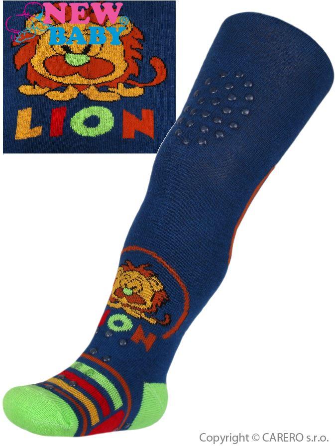 Bavlnené pančucháčky New Baby 3xABS tmavo modré lion