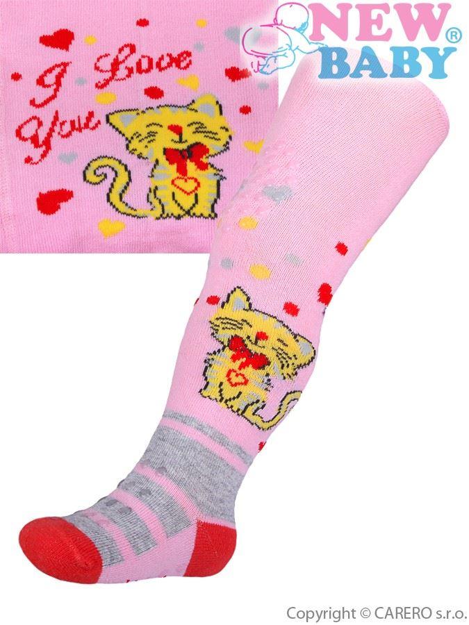 Bavlnené pančucháčky New Baby 3xABS svetlo ružové s mačičkou