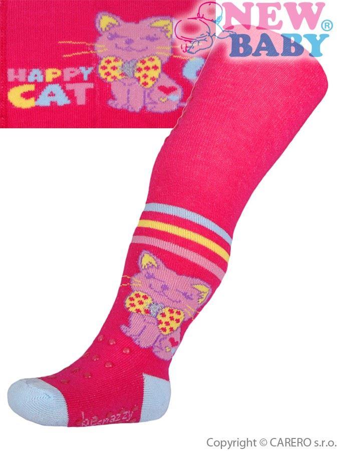 Bavlnené pančucháčky New Baby 3xABS ružové happy cat