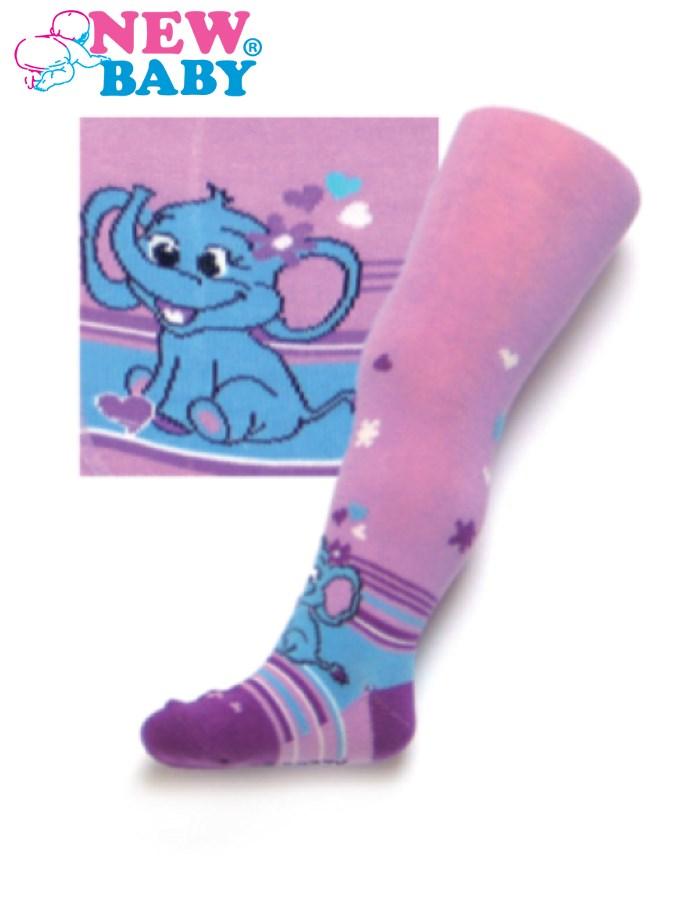 Bavlnené pančucháčky New Baby fialové so slonom