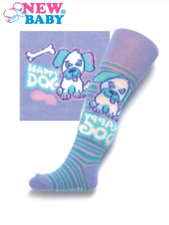 Bavlnené pančucháčky New Baby fialové s psíkom