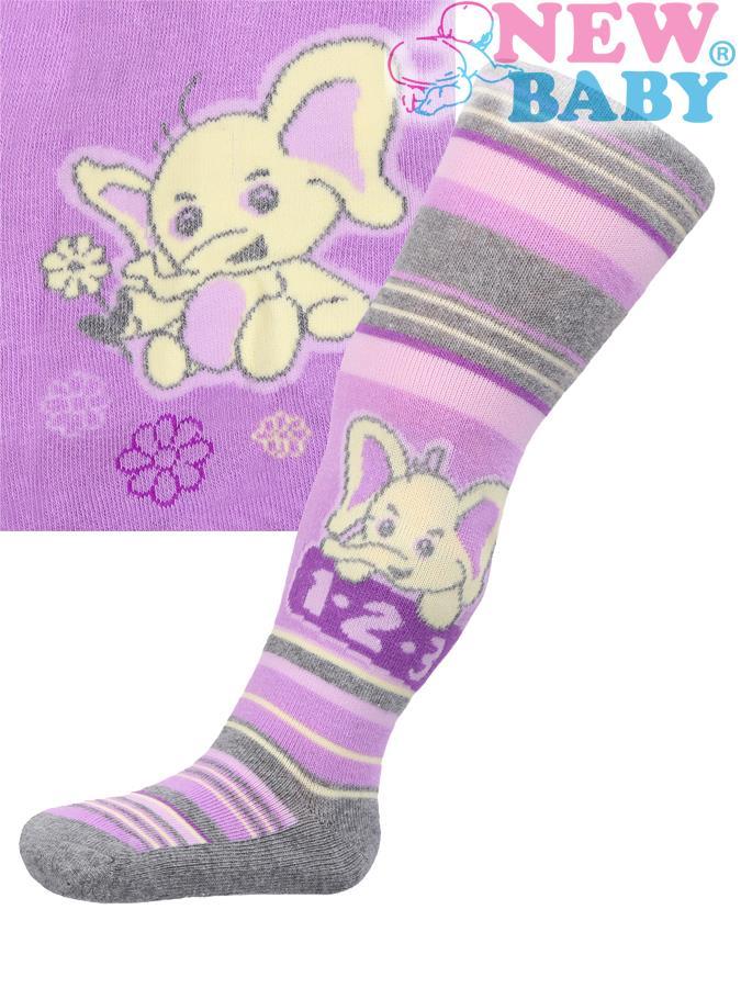Bavlnené pančucháčky New Baby fialové s pruhmi a slonom