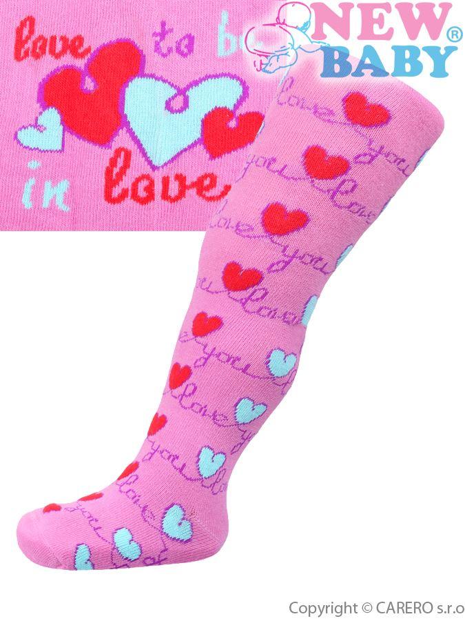 Bavlnené pančucháčky New Baby ružové love you