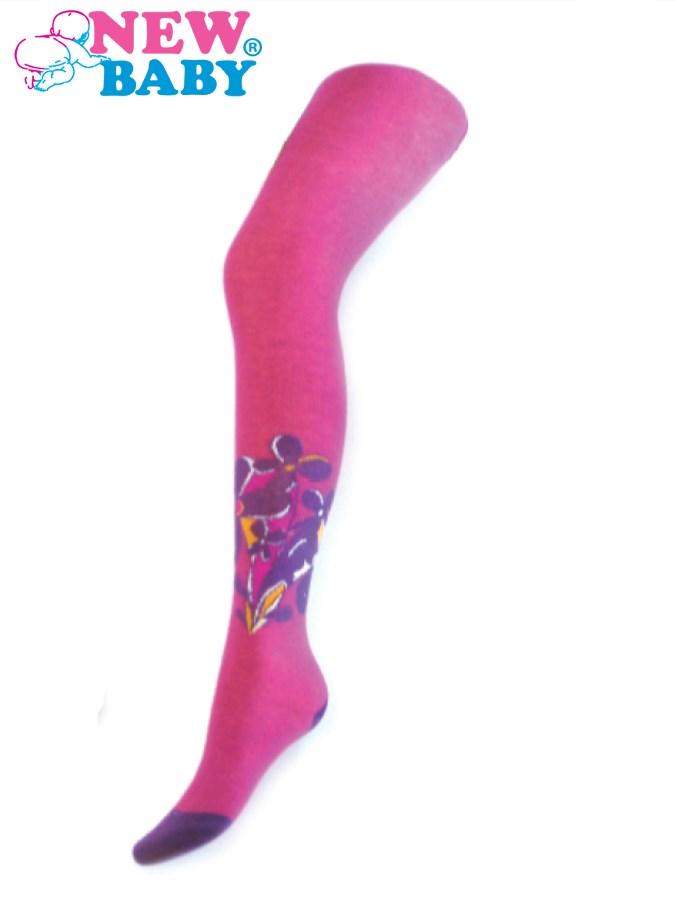 Bavlnené pančucháče New Baby ružové s fialovými kvietkami
