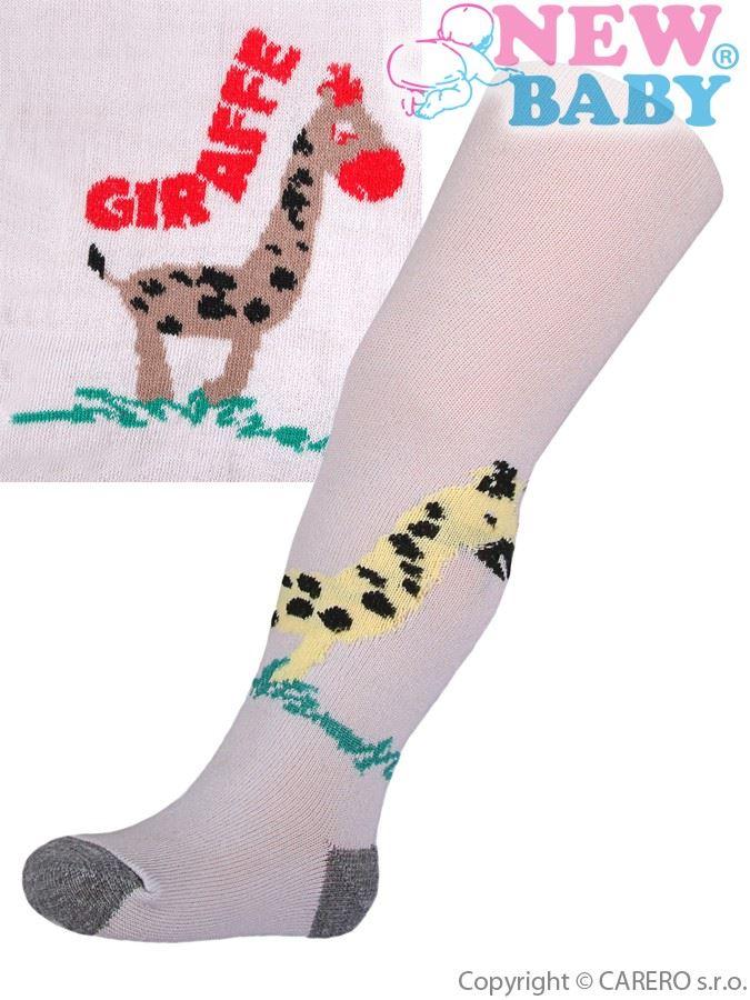 Bavlnené pančucháčky New Baby sivé s žirafou
