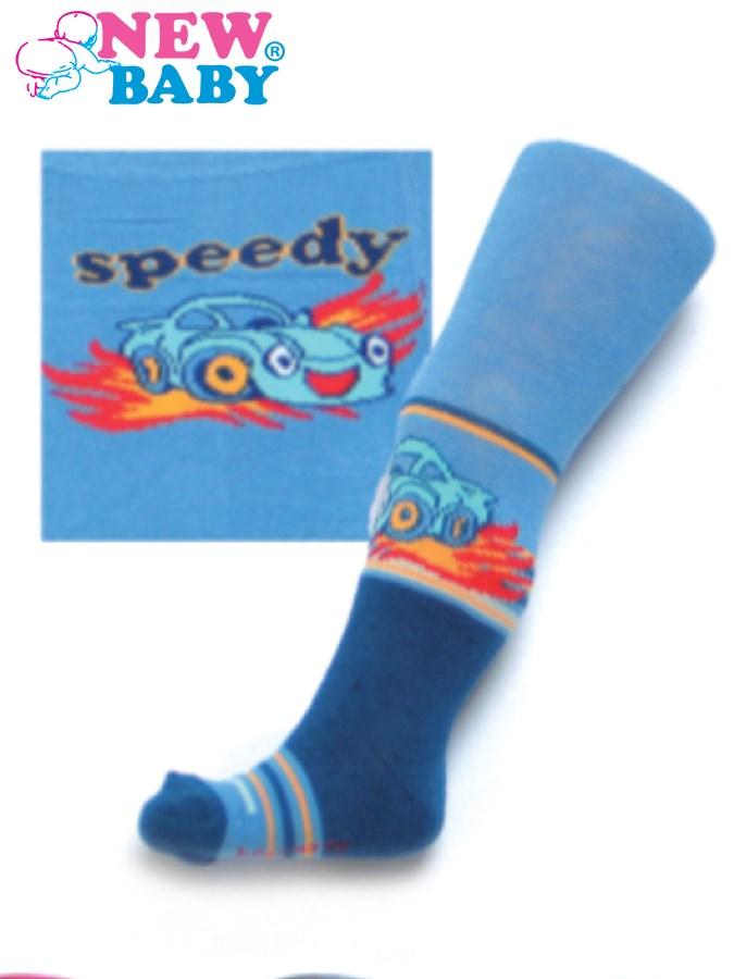 Bavlnené pančucháčky New Baby modré s autíčkom