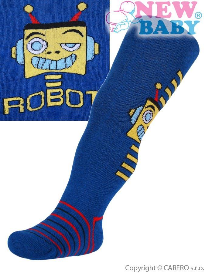 Bavlnené pančucháčky New Baby tmavo modré s robotom