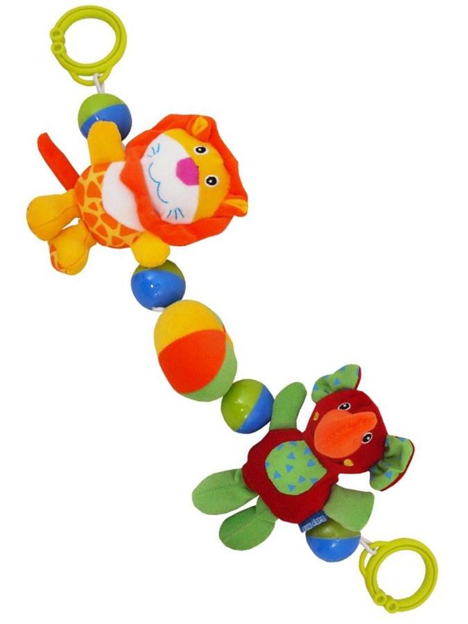 Detská plyšová hrkálka do kočíka Baby Mix lev a sloník