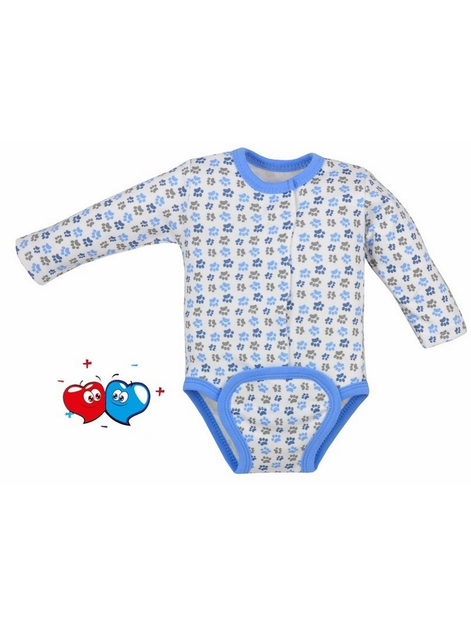 Dojčenské body celorozopínacie Koala Magnetky modré s labkami