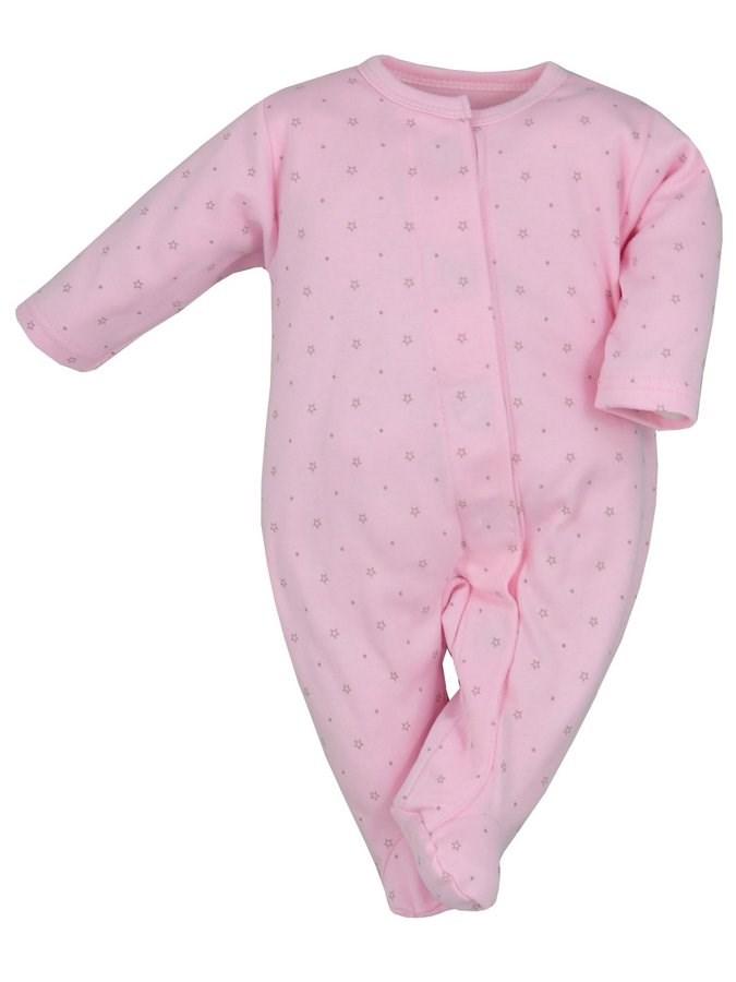 Dojčenský overal Koala Magnetky ružový s hviezdičkami
