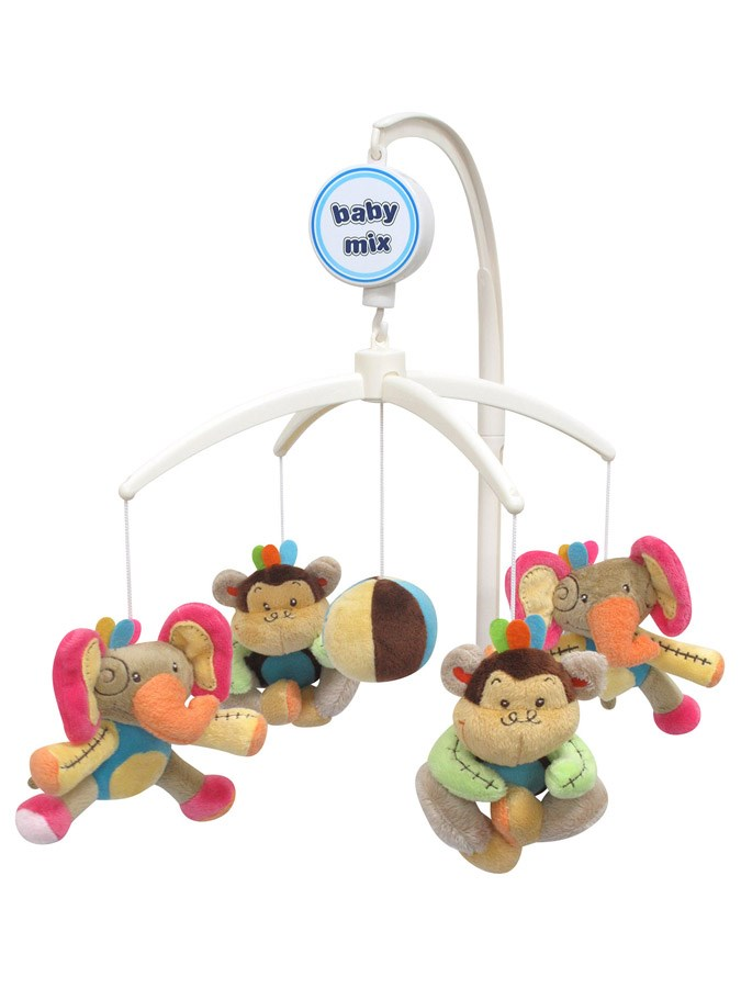 Kolotoč nad postieľku Baby Mix Slony a Opičky