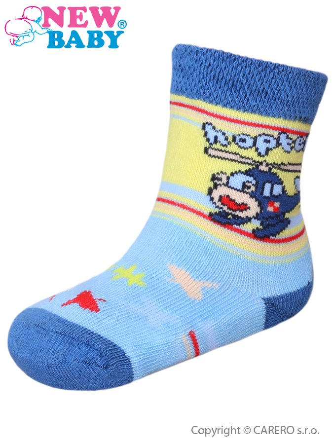 Dojčenské bavlnené ponožky New Baby žlto-modré s vrtuľníkom