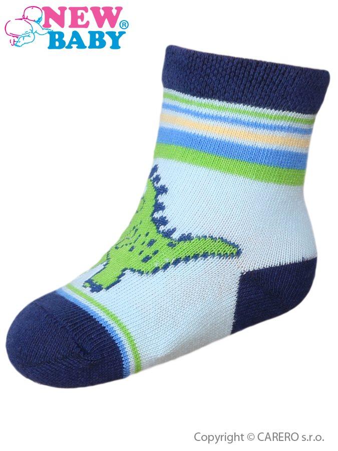 Dojčenské bavlnené ponožky New Baby tmavosivé s gekónom