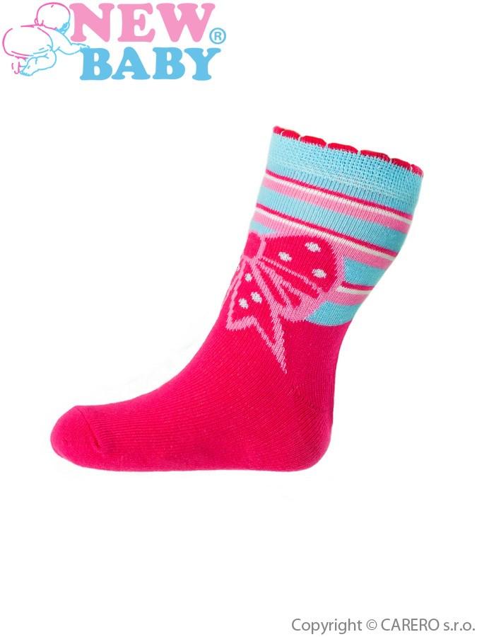 Detské bavlnené ponožky New Baby ružové s mašličkou