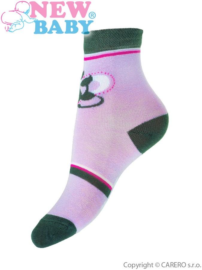Detské bavlnené ponožky New Baby fialové s mačičkou