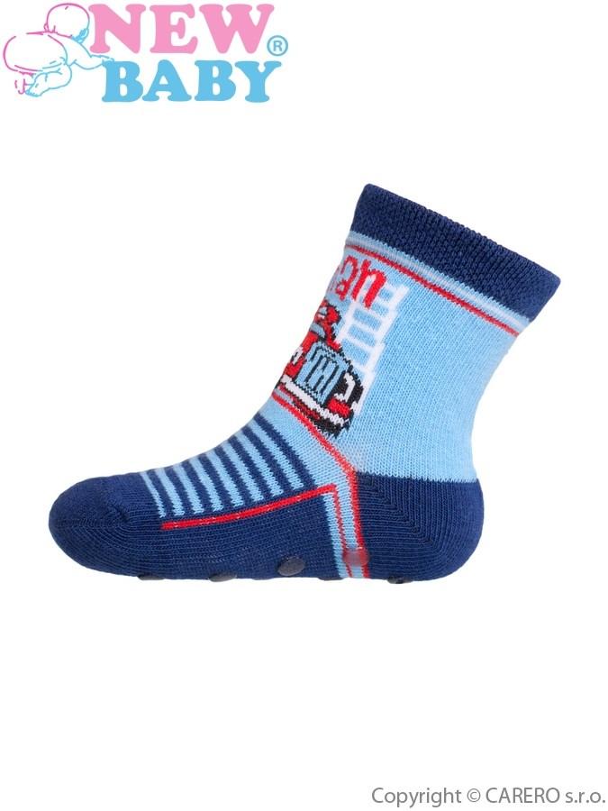 Dojčenské ponožky New Baby s ABS modré fireman