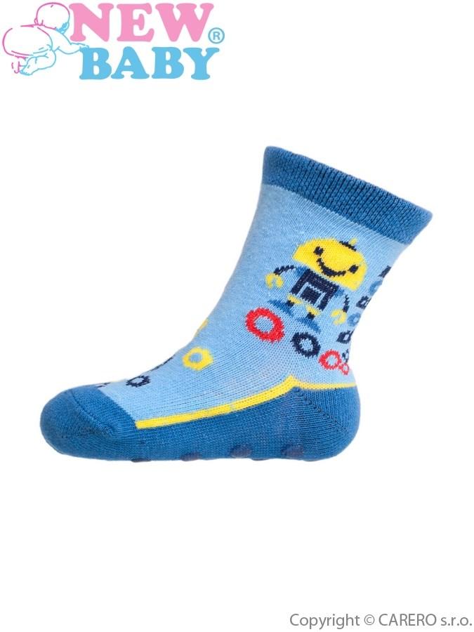 Dojčenské ponožky New Baby s ABS modré s robotom