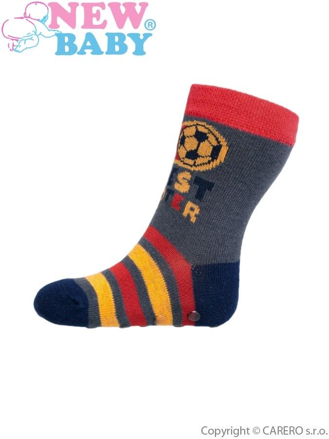 Dojčenské ponožky New Baby s ABS červeno-sivé best shooter