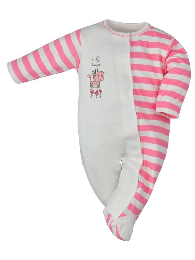 Dojčenský overal Koala Magnetky Safari ružový mačička