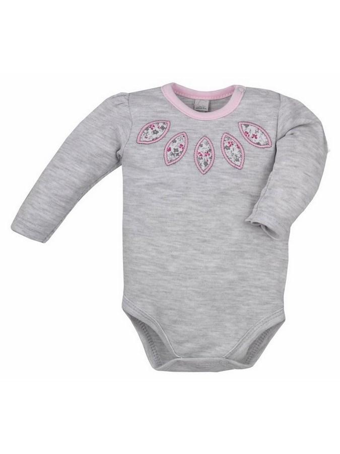 Dojčenské body s dlhým rukávom Bobas Fashion Kvetinka sivé