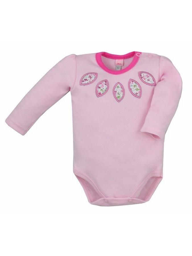 Dojčenské body s dlhým rukávom Bobas Fashion Kvetinka ružové