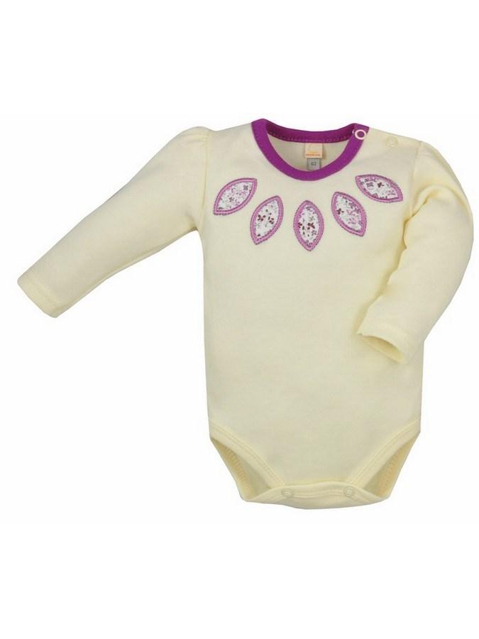 Dojčenské body s dlhým rukávom Bobas Fashion Kvetinka žlté