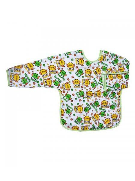 Detský podbradník s rukávmi Akuku biely s žlto-zelenými sovičkami