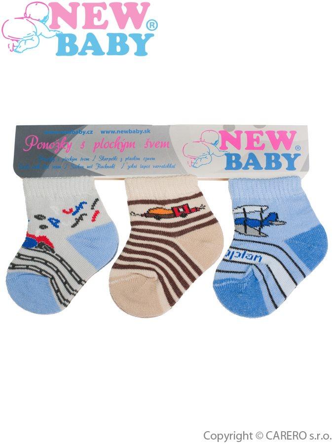 Dojčenské bavlnené ponožky New Baby farebné - 3ks