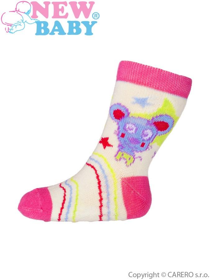 Dojčenské ponožky New Baby s ABS žlté s medvedíkom