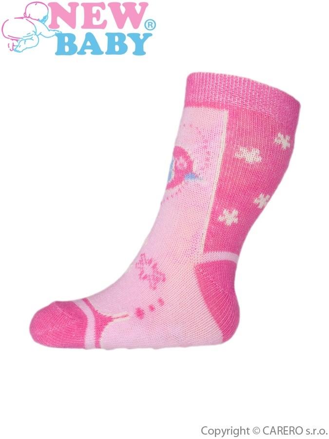Dojčenské ponožky New Baby s ABS ružové s vtáčikom