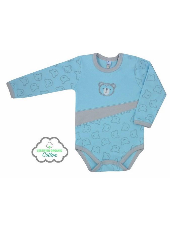 Dojčenské BIO body s dlhým rukávom Koala Malí Mackovia modré