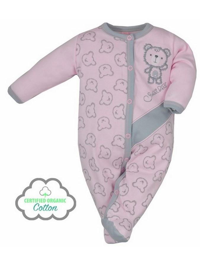 Dojčenský BIO overal Koala Malí Mackovia ružový