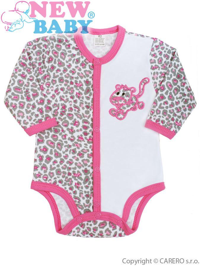 Dojčenské body s dlhým rukávom New Baby Leopardík ružové