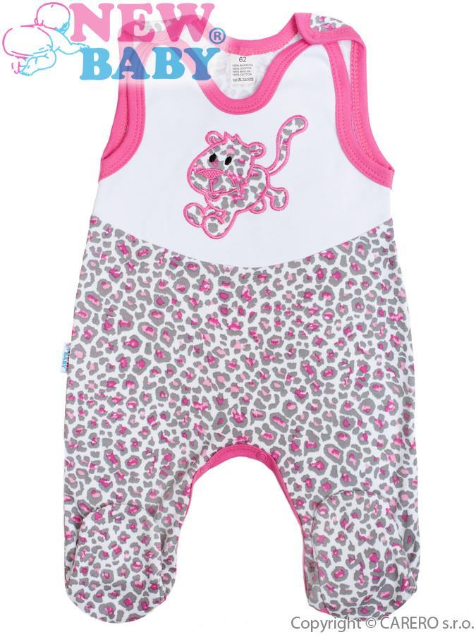 Dojčenské dupačky celorozopínacie New Baby Leopardík ružové