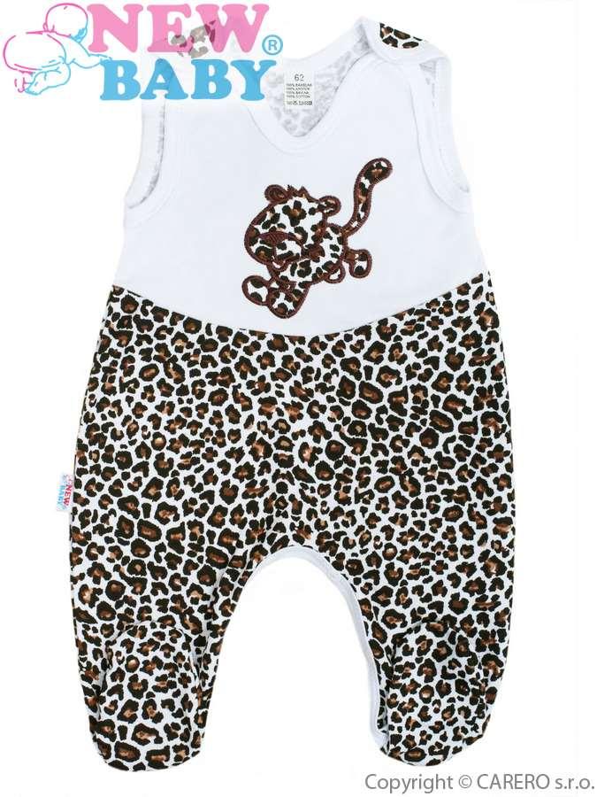 Dojčenské dupačky celorozopínacie New Baby Leopardík hnedé