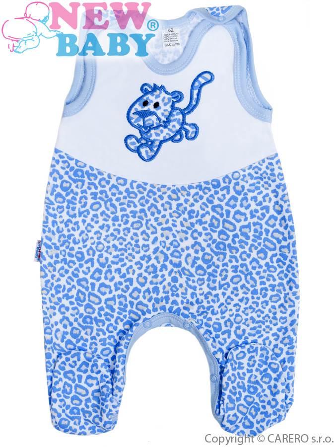 Dojčenské dupačky celorozopínacie New Baby Leopardík modré