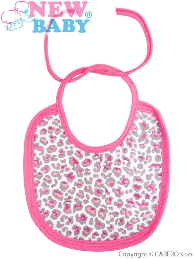 Dojčenský bavlnený podbradník New Baby Leopardík ružový