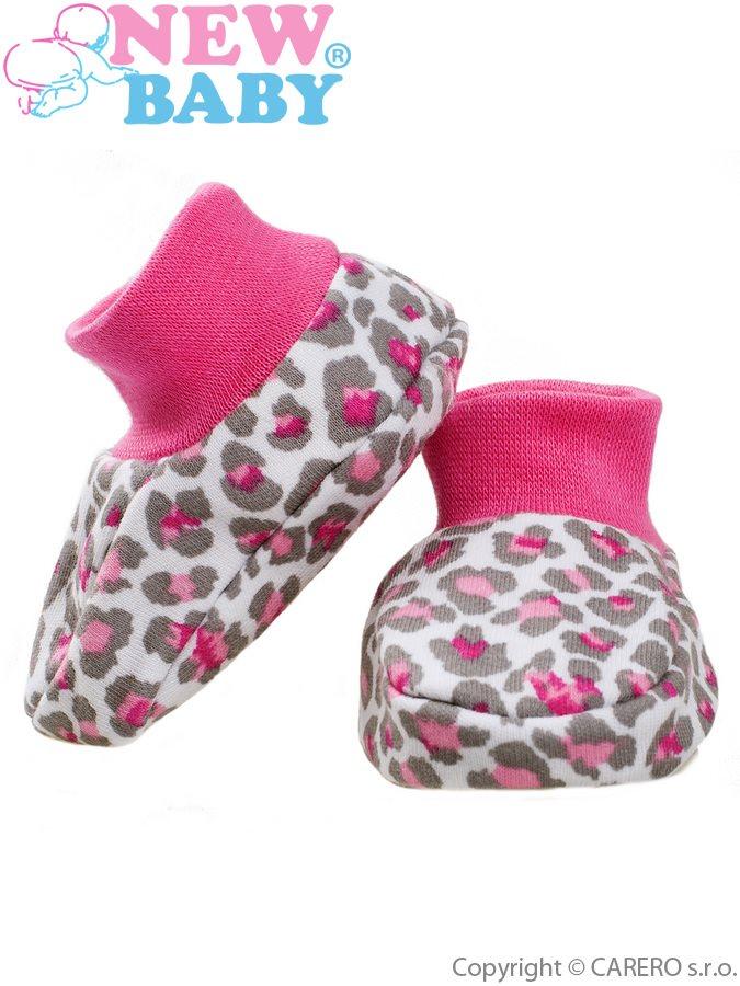 Dojčenské bavlnené capačky New Baby Leopardík ružové