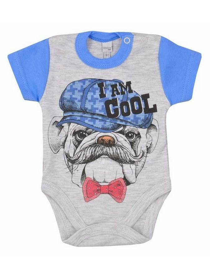 Dojčenské body s krátkym rukávom Koala Psík a mačička modré