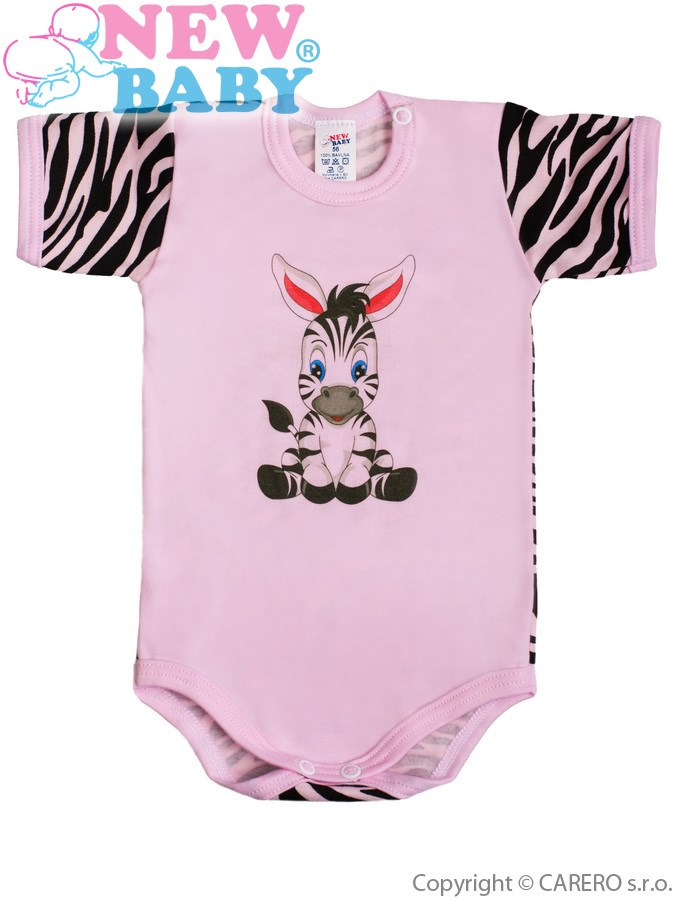 Dojčenské body s krátkym rukávom New Baby Zebra ružové