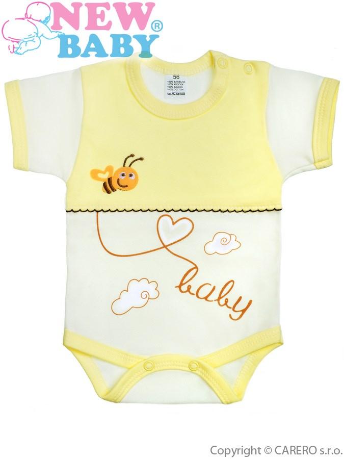 Dojčenské body s krátkym rukávom New Baby Clouds žlté