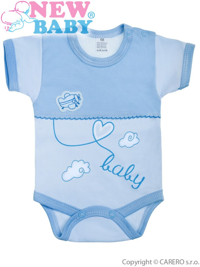 Dojčenské body s krátkym rukávom New Baby Clouds modré