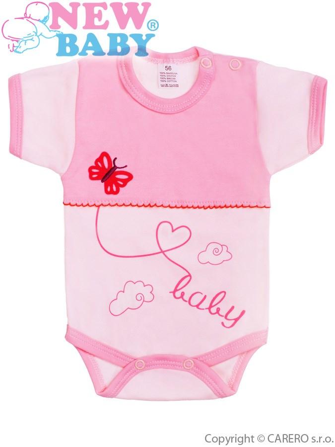 Dojčenské body s krátkym rukávom New Baby Clouds ružové