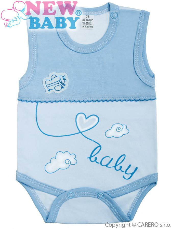 Dojčenské body bez rukávov New Baby Clouds modré