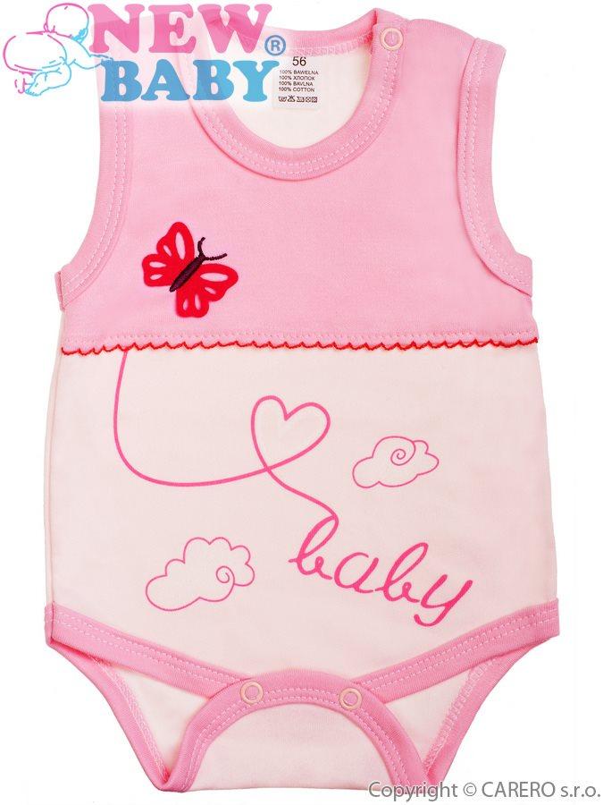 Dojčenské body bez rukávov New Baby Clouds ružové