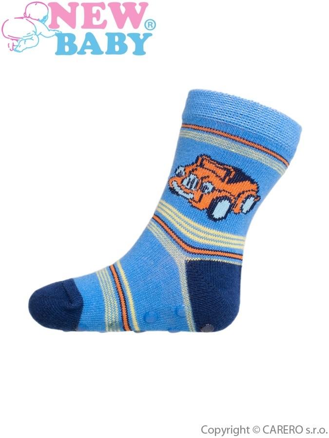 Dojčenské ponožky New Baby s ABS modré s autíčkom